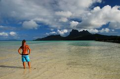 Young tourist girl. Bora Bora, French Polynesia Royalty Free Stock Image