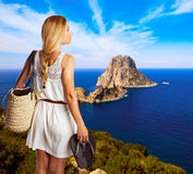-young tourist girl in formentera Royalty Free Stock Images