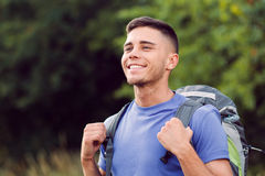 Young tourist hiking alone Stock Photos