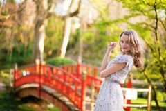 Young tourist in Japan on a nice spring day Stock Photography