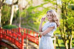 Young tourist in Japan on a spring day Royalty Free Stock Photos