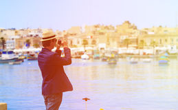 Young tourist making photo of Malta. Travel concept Royalty Free Stock Photography