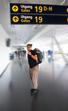 Young tourist man in airport. Travel concept Stock Photo