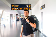 Young tourist man in airport. Travel concept Stock Photography