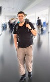 Young tourist man in airport. Travel concept Royalty Free Stock Photography