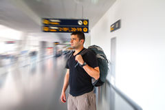 Young tourist man in airport. Travel concept Royalty Free Stock Images
