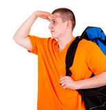 Young tourist man with backpack Stock Photos