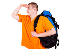 Young tourist man with backpack Stock Photography