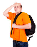 Young tourist man with backpack Stock Photo