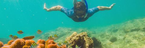 Young tourist man swimming in the turquoise sea under the surface near coral reef with snorkelling mask for summer. Vacation. BANNER, LONG FORMAT stock photo