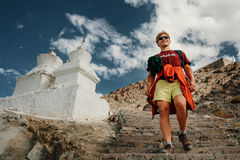Young tourist man visit the tibetian holy places in Himalaya mou Stock Images