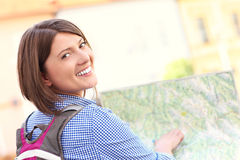 Young tourist with a map Stock Photos