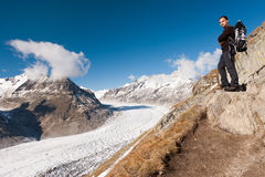 Young tourist near, Aletsch Glacier, Switzerland Stock Photo