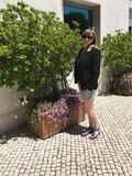 Young Tourist Outside Real Oeiras Hotel in Lisbon Riviera Stock Images