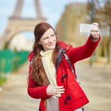 Young tourist in Paris doing selfie Royalty Free Stock Photos