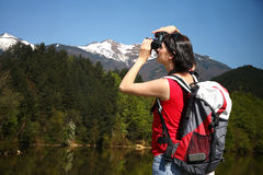 Young tourist photographer Stock Images