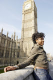 Woman on Westminster Bridge. Royalty Free Stock Images