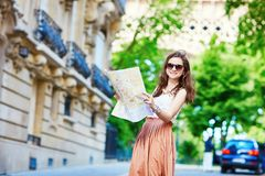 Young tourist on a street of Paris Royalty Free Stock Image