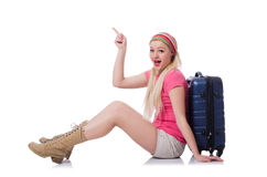 Young tourist with suitcases isolated on white Royalty Free Stock Photography
