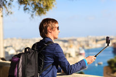 Young tourist taking a selfie photo in Malta Stock Photos