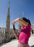 Young tourist on the top of Duomo di Milano Stock Images