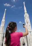 Young tourist on the top of Duomo di Milano Stock Photos
