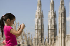Young tourist on the top of Duomo di Milano Stock Photo