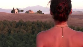 Young tourist and tuscan landscape. Italy, Tuscany. typical landscape and young woman stock footage