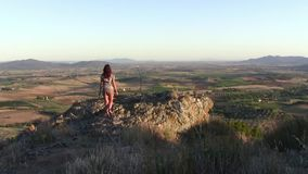 Young tourist and tuscan landscape. Italy, Tuscany. typical landscape and young woman stock video footage