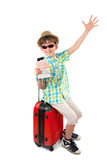 The young tourist with visa in passport Royalty Free Stock Photos
