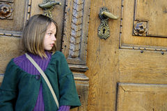 Young Tourist Waiting On Museum Door Royalty Free Stock Photo