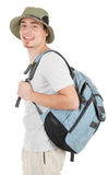 Young tourist on white. Young man tourist on a white background Stock Images