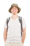 Young tourist on white Stock Photography