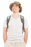 Young tourist on white Royalty Free Stock Photo
