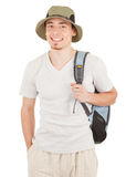 Young tourist on white. Young man tourist on a white background Royalty Free Stock Image