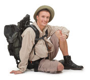 Young tourist on white Royalty Free Stock Photos