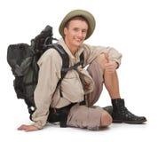 Young tourist on white Royalty Free Stock Photos