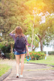 Young  tourist woman with a backpack Stock Image