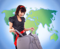 Young tourist woman with baggage Stock Images