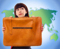 Young tourist woman with baggage Royalty Free Stock Images