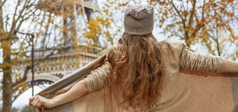 Young tourist woman in Paris, France having fun time Stock Photo