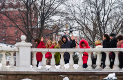 Young tourists in Alexander garden of Moscow Kremlin Royalty Free Stock Images