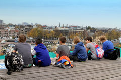 Young tourists in Amsterdam Stock Photo