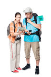 Young tourists got lost looking the road it on the map Royalty Free Stock Photo