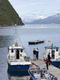 Young tourists in Norway stock photography