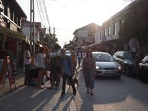 Young tourists in Vama Veche. Tourists walking on alley with souvenirs in Vama Veche, Romania stock image