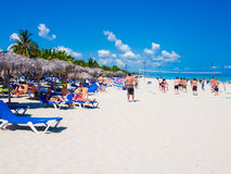 Young tourists at Varadero beach in Cuba Royalty Free Stock Photo