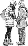 Young townspeople met on a date. Vector drawing of the talking city dwellers Stock Photo