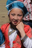 Young traditional dancer at Naadam. KARKORIN, MONGOLIA, July 9, 2013 : Young dancer girl during Naadam. Naadam is a traditional festival where Mongolian Stock Image