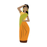 Young traditional indian woman vector character illustration. Young traditional indian happy woman ethnicity clothes portrait vector character illustration Stock Image